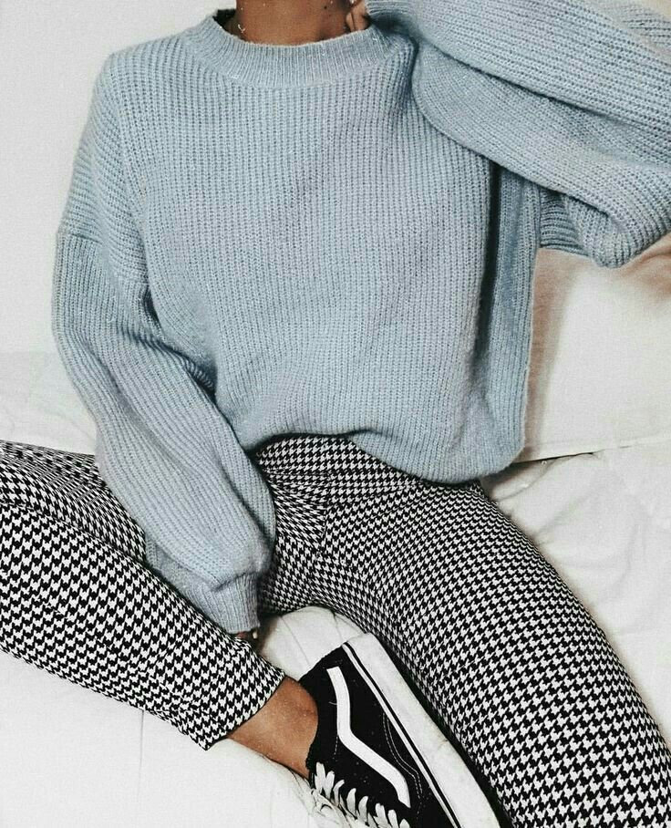gingham pants, weater, blue sweater, school outfit…