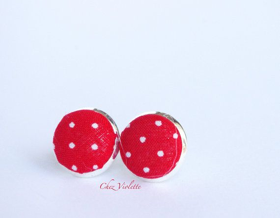Stud earrings red white polka dot studs fabric by chezviolette