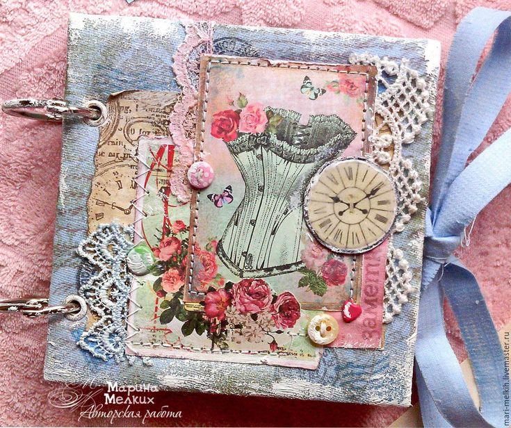 Купить Блокнот-мини девушке Шебби - блокнот ручной работы, записная книжка, подарок девушке