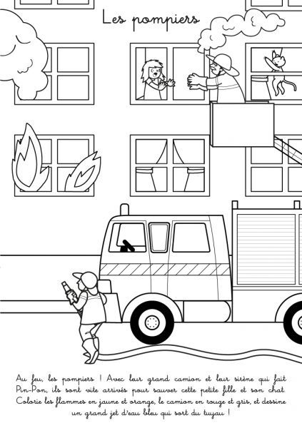 Coloriage à imprimer : Les pompiers