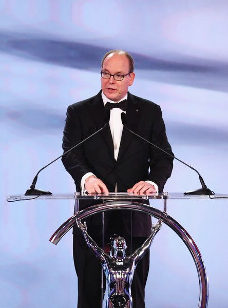 Prince Albert II Photos Photos - Prince Albert II of Monaco speaks on stage during the 2017 Laureus World Sports Awards at the Salle des Etoiles,Sporting Monte Carlo on February 14, 2017 in Monaco, Monaco. - Show - 2017 Laureus World Sports Awards - Monaco