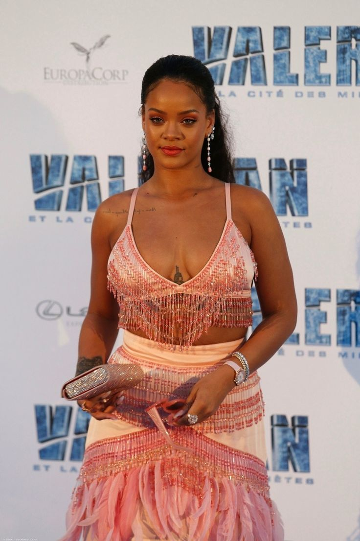 Rihanna at the Valerian Premiere in Paris today.