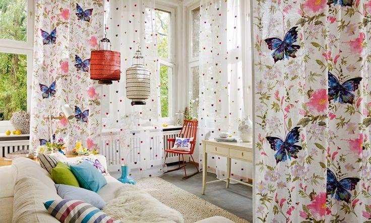 PARADISE GARDEN #linen #lino #lli #fil #bordado #brodat #mariposa #mariposas #papallona #papallones #printed #estampado #estampat #multicolor #rasch #ontariofabrics