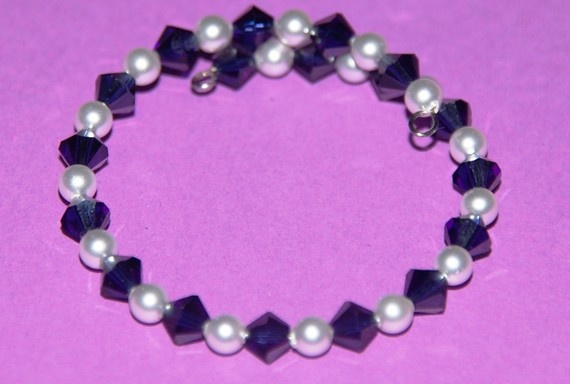 Small size that fits toddlers!  Swarovski Childrens bracelet  white and blue by Tazzmck on Etsy