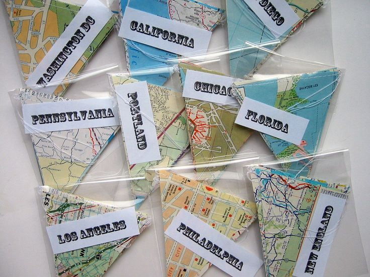 WHOLESALE- 10 Mini Garlands- Vintage Map Garlands- Random Assortment of States and Cities- Map Decorations. $35.00, via Etsy.