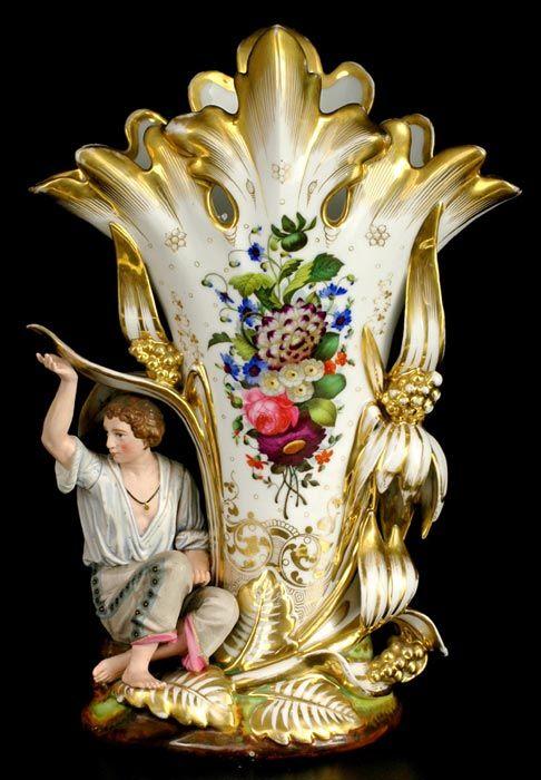 Čechy, Horní Slavkov, Haas & Cžjžek, 60. léta 19. stol. Dekorativní váza z bílého porcelánu,