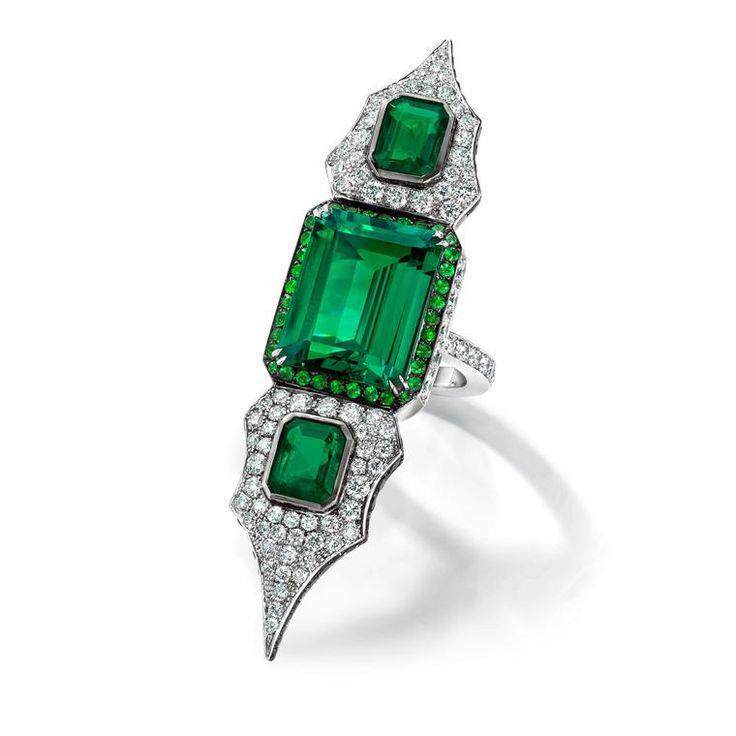 Anna Hu Modern Art Deco emerald ring