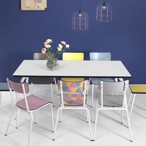 Table à manger 120 ou 160 cm formica Vera Les Gambettes -Blanc : Decoclico