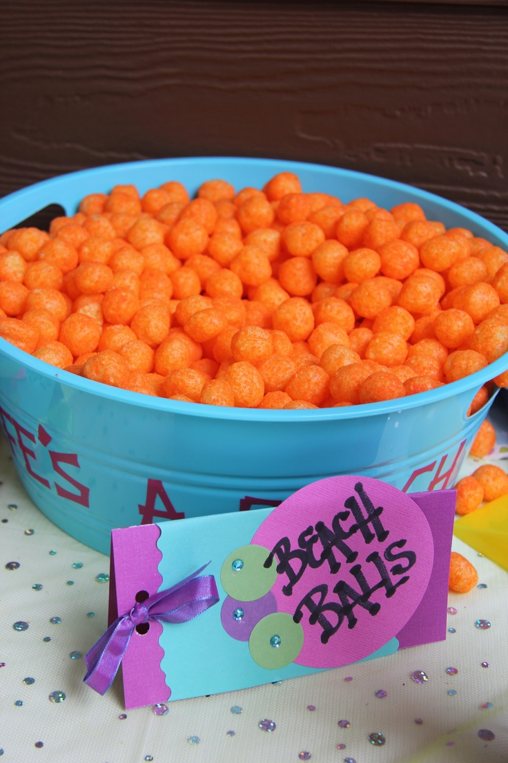 "Cheese ball ""Beach balls"" were also on the snack table"