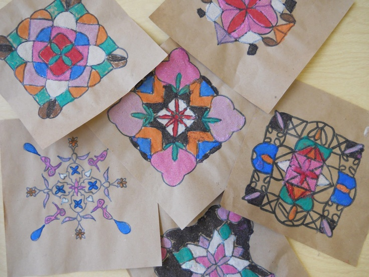 5th Grade, Rangoli Designs from India, Radial symmetry/Math, Multicultural