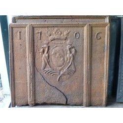 Haardplaat met Frans wapen te koop bij https://www.haardplaat.com