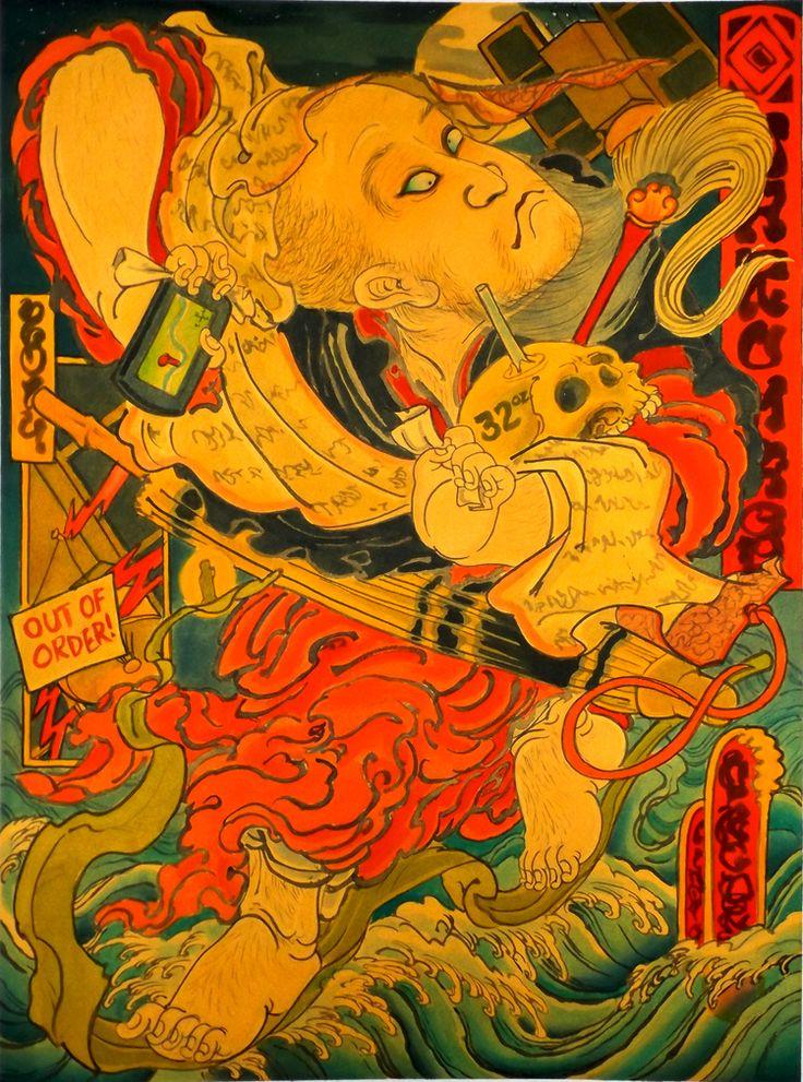 Mike Dorsey: Daruma Crossing the Yangtse on a Reed