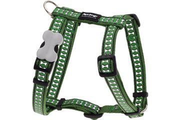 Red Dingo reflective dog harnesses are made with premium nylon webbing, plated carbon steel D-rings and their trademarked buckle bone side release buckle. Safety for those walks at night!  Starting at $18.00!