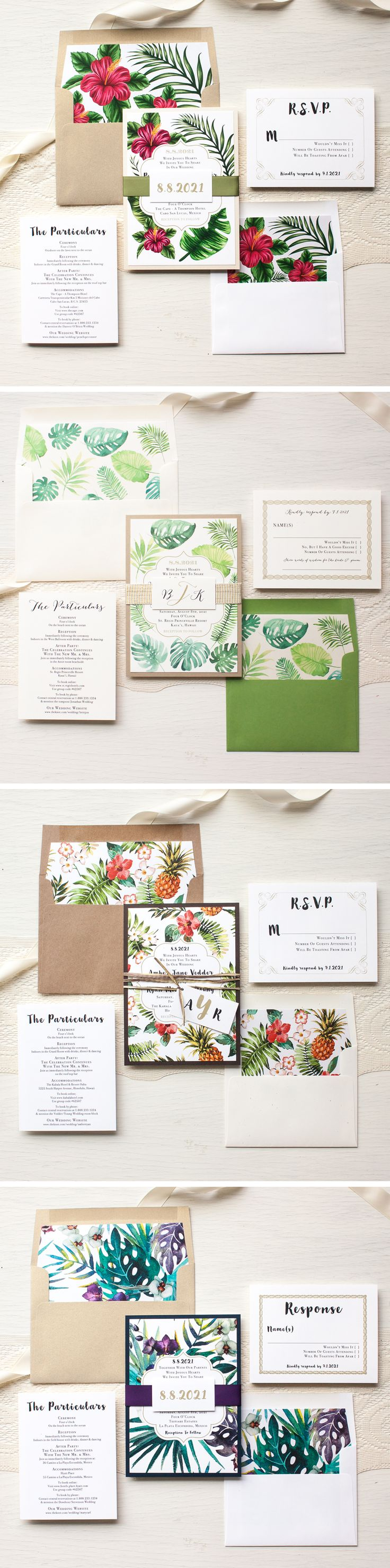 Aloha! Tropical leaf, floral and pineapple wedding invitations. Beach Ready.