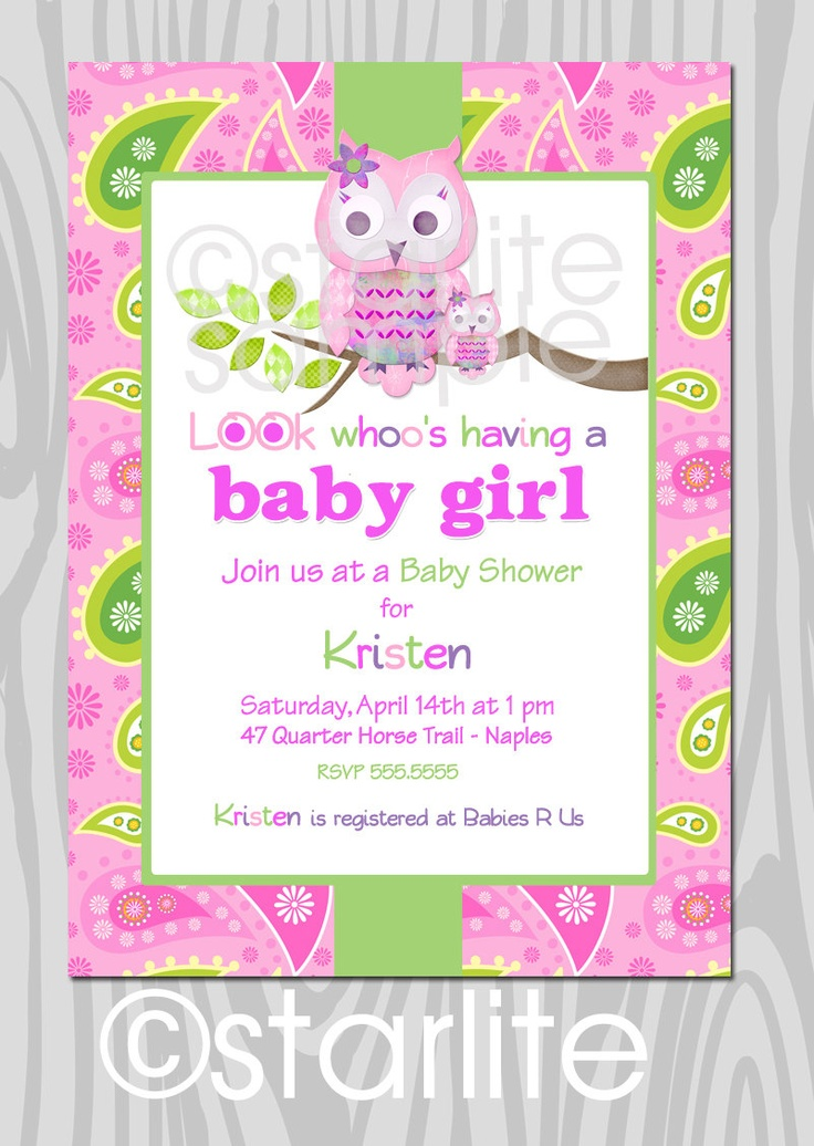 154 best Baby Shower Invitations - Girl images on Pinterest | Baby ...