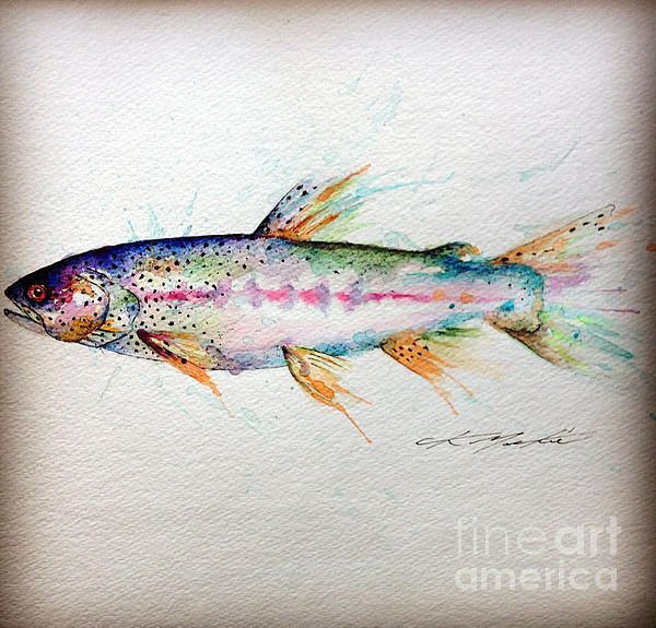 'Mr Trout' Watercolor ... I'd have to skip the long fins though, that is making my OCD tingle.  But maybe some splashes of blue all around to represent the water.  Yes, I'm pretty sure this how I want the one I am going to get tattooed on my wrist!