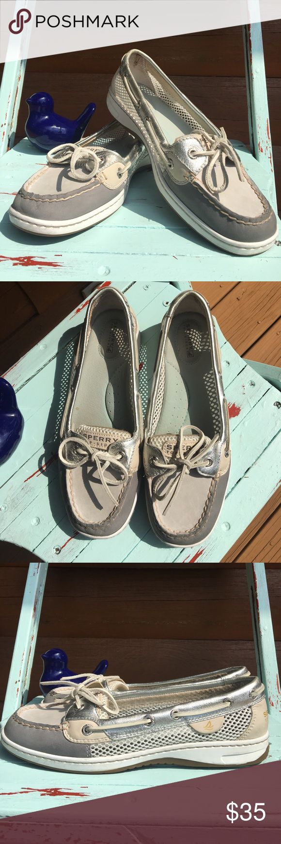 Sperry boat shoes Silver metallic leather and mesh breathable sides. Gently used mint condition Sperry Top-Sider Shoes Flats & Loafers