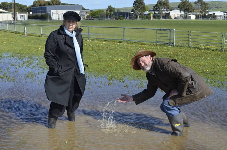 The deluge of rainfall has caused the cancellation of the Port Elliot Show on October 8 and 9 and committee promotions officer June Taylor and president Steve Rogers stand in one of the many ponds at the showgrounds.