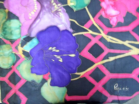 vintage scarf  chiffon silk   hand painted by CHEZELVIRE on Etsy, $13.00