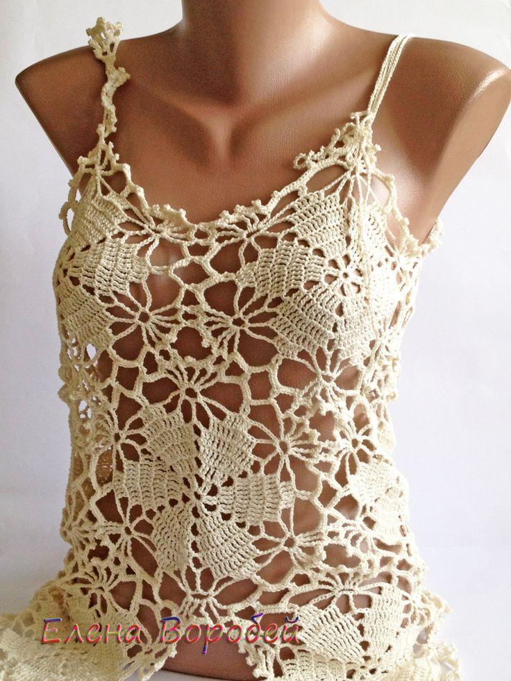 Sexy lace top/ Crochet Top/ Boho Chick Cream Crochet Top/ Crochet Sexy Top/ Lace Crochet Top/ Beautiful Top/ Bohemian Crochet Lace Beachwear (69.00 USD) by ElenaVorobey