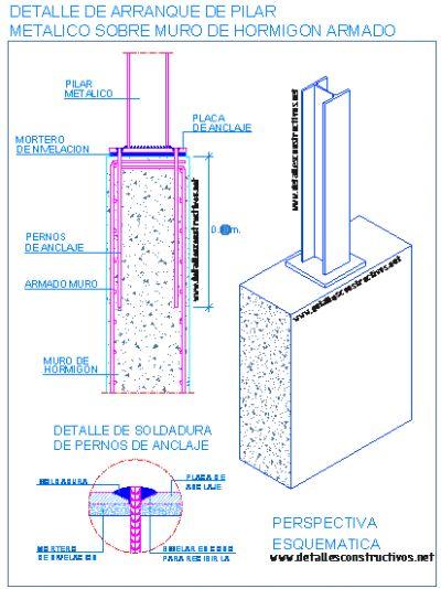 Detalle de arranque de pilar metalico sobre muro de hormigon armado