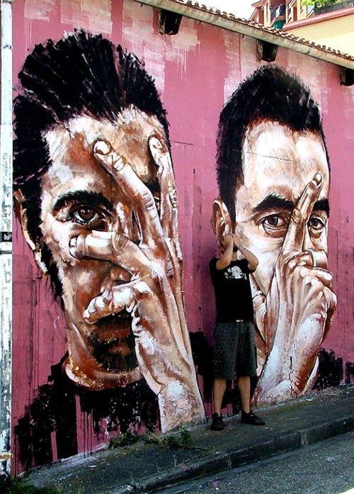 Best Street Art Graffiti Images On Pinterest Street Art - Artist paints incredible seaside murals balanced on surfboard