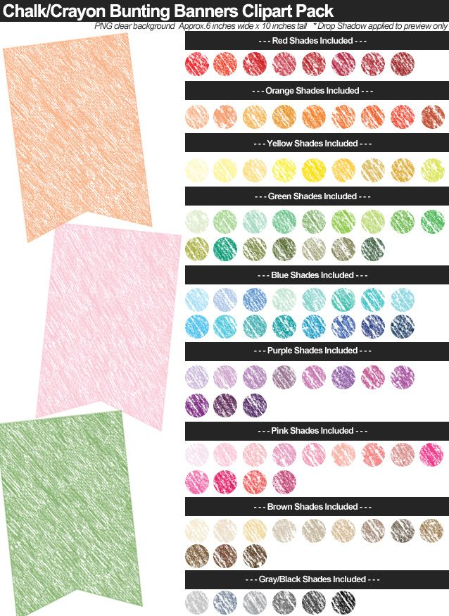 Chalk Crayon Bunting Banners Clipart Pack