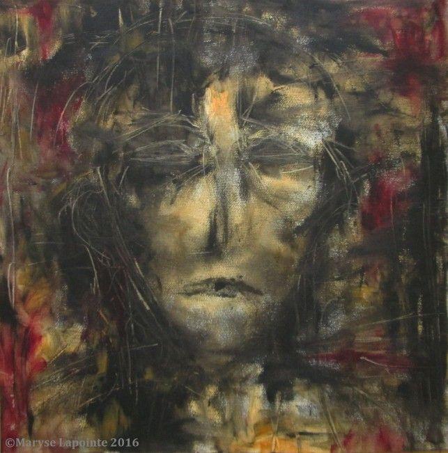 Autoportrait (2 mars) – 2016 Huile/papier 16 x 16 po. (40.5 x 40.5 cm) 300$ #autoportrait, #selfportrait, #expressionnisme