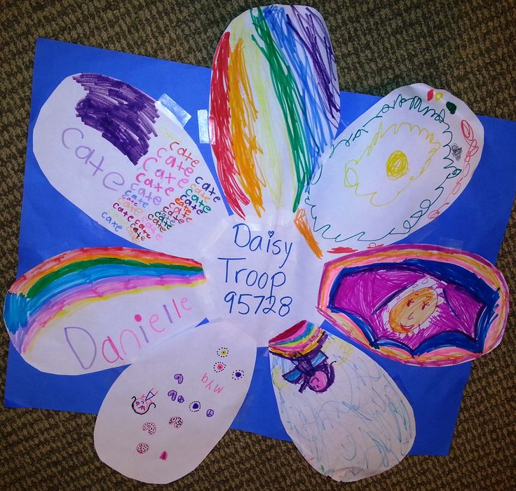 """I'm a Troop Leader for a Kindergarten Daisy Troop. At our first meeting, we created our own """"Troop Daisy"""", with each girl drawing a petal to represent herself. We talked about how the girls are a group as well as that each of them are important, vibrant, unique parts of the whole. The Daisy's large so I took a photo of it and made prints for each girl for her Daisy scrapbook."""