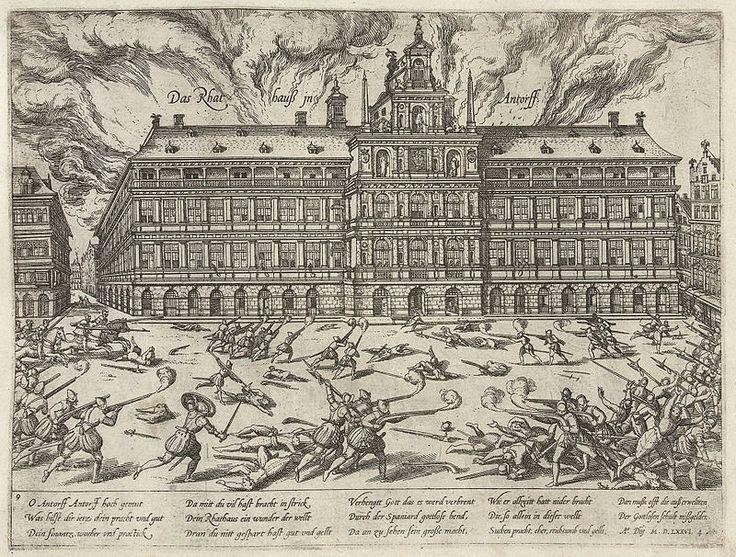 La Plaza Mayor de Madrid. Corazón de la villa y corte de San Isidro.Saqueo y quema del ayuntamiento de Amberes en 1576