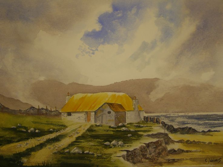 Cottage on Anglesy water colour by Colin Walters 594mm x 420mm