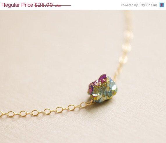 CYBER MONDAY SALE - Tiny rainbow drop necklace - raw titanium crystal quartz on gold filled chain - everyday dainty jewelry