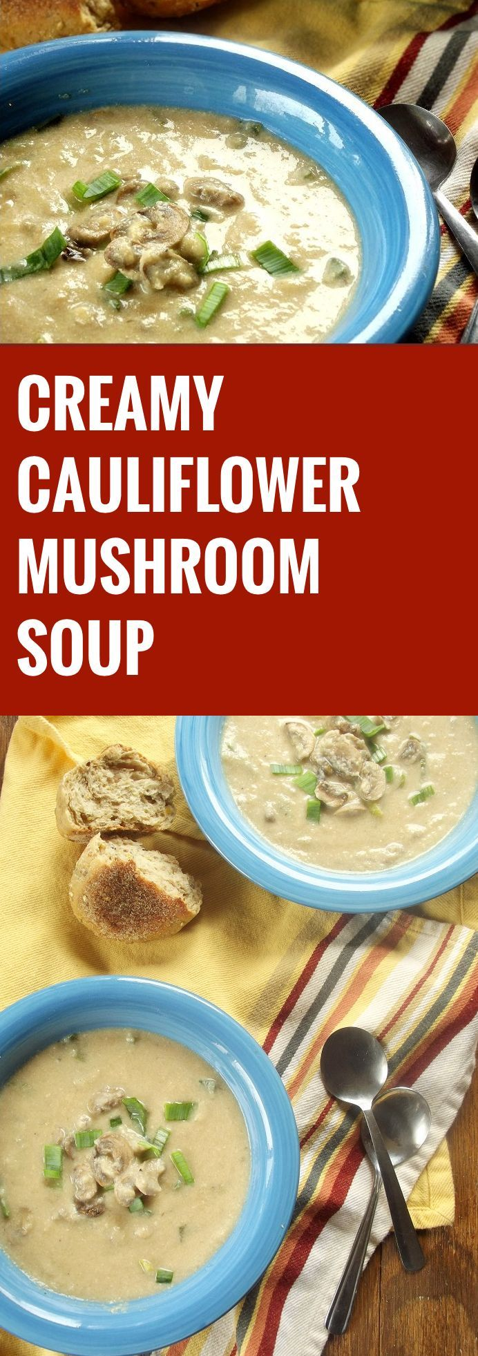 This cauliflower mushroom soup is made with a rich cauliflower base, seasoned with garlic, leeks and white wine, and loaded with tender sautéed mushrooms.