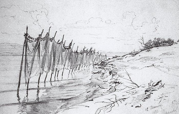 Репин И.Е. Рыбацкие сети. Ширяево (1870)