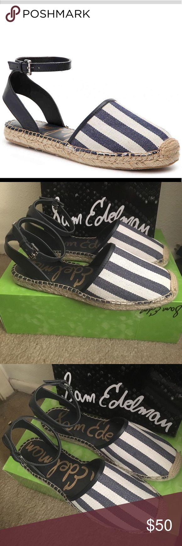 "Sam Edelman navy & white espadrilles sandals Blue and white striped canvas ""Vivian"" espadrille sandal shoes. Great gift! Brand new in box. Sam Edelman Shoes Espadrilles"