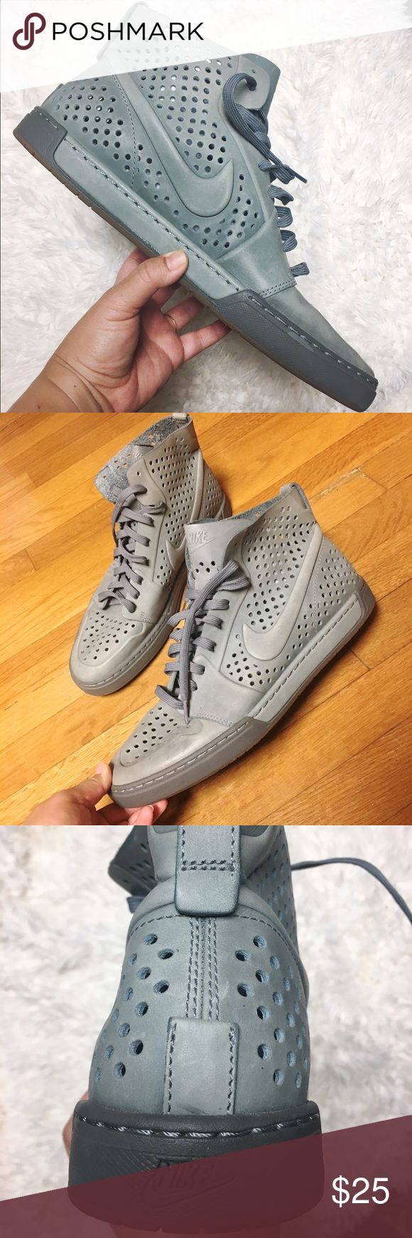 Rare Nike Men's High Top Basketball Shoes Grey rubber soles and and eyelet design. Rare swag-y shoe. Never worn, super clean, light fading. Nike Shoes Athletic Shoes