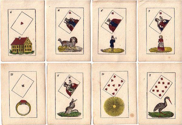 Lenormandkarten mit Skatkarten-Symbolen von Friedrich Ferdinand, Verlag Büreau / Berlin, um 1850