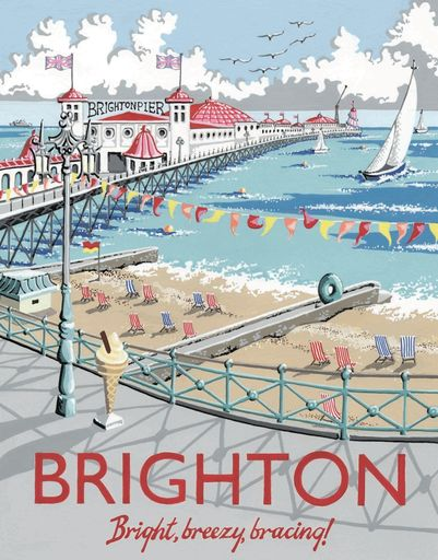 Retro-style illustration. Brighton Pier limited edition giclee print