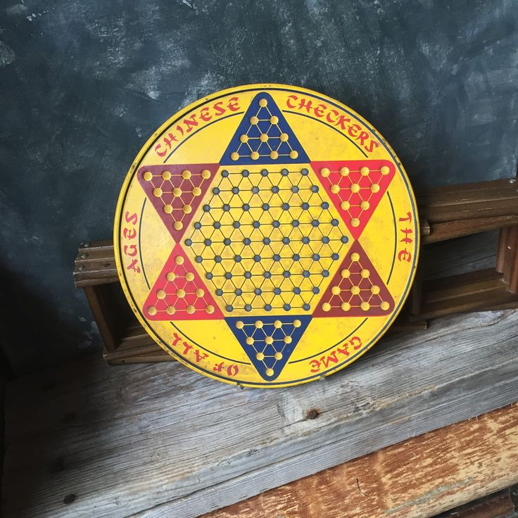 Vintage Chinese Checker Board: Tin Litho Chinese Checker Board Game, Round Yellow Tin Chinese Checker Board, Rustic Industrial Wall Art by Untried on Etsy