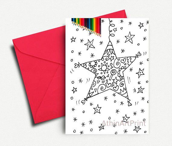 Coloring Cards Christmas Card Kids Coloring Xmas Star Card