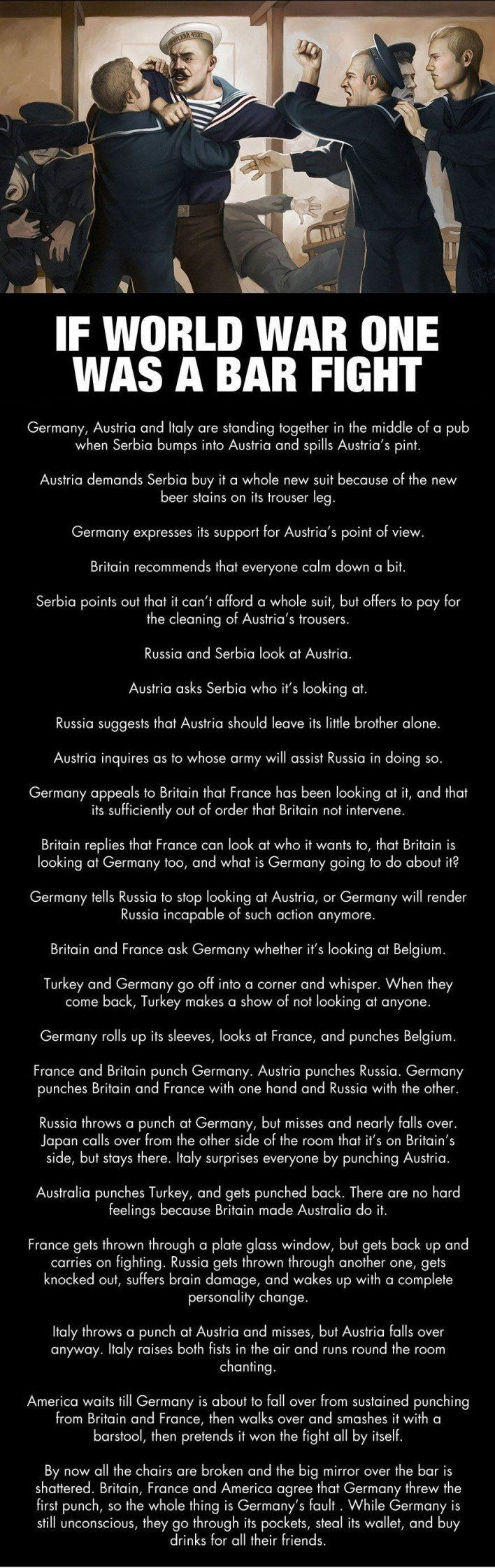 Haha i love the part where Russia wakes up with a personality change! If World War One was a Bar Fight World War One History