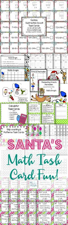 Christmas themed math centers for computation, graphing, area & perimeter, calculator skills, skip-counting, and patterns. Perfect for small groups, review, and centers!!