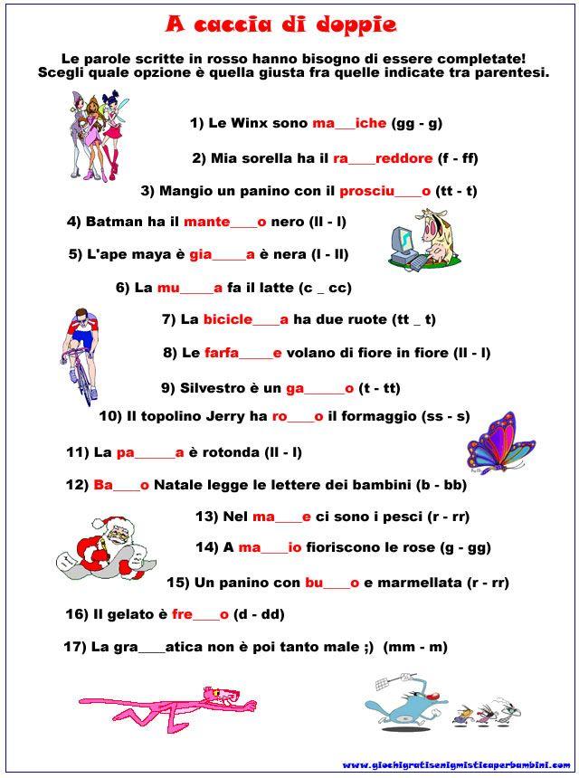 Scheda didattica di grammatica sulle lettere doppie