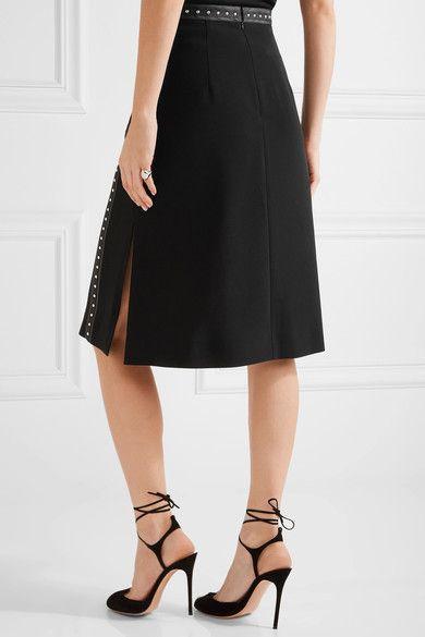 Altuzarra - Steele Studded Satin-trimmed Crepe Skirt - Black - FR42