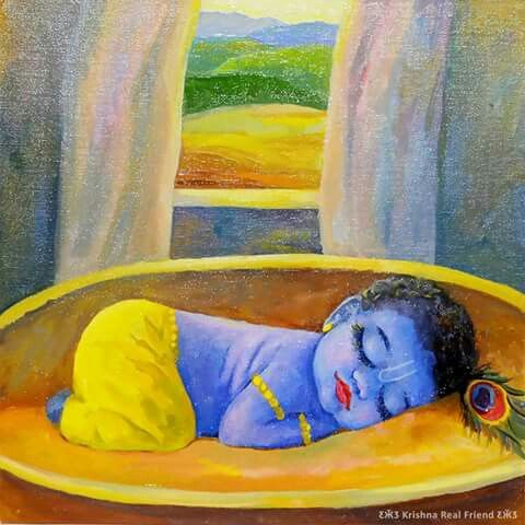 Sleeping baby krishna☺ More