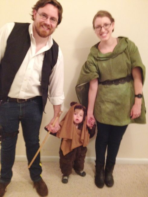 Han Solo, baby ewok, and Leia #Halloween #costume #starwars