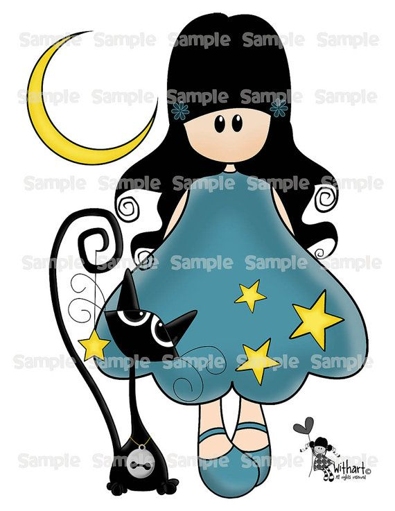 Night stars black cat Nina dolls 0077 clip art set images