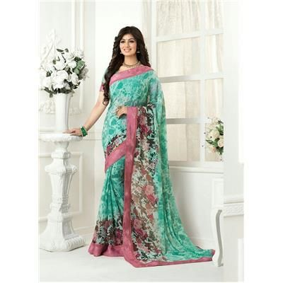 Saiveera New Stylish Ayesha Sky Green Designer Flower Printed Casual Georgette Saree/Sari Saiveera Fashion Is a Best Manufacturer, Exporter,Wholesaler, As well as Best and dealer,Retailar Of Designer,Embroidery Wedding Sari,Kids Lahenga Choli,Salwar Suit,Dress Material,etc.in surat Textile Market. Also Mainly Focus On Style,Choice,Fabric. So Saiveera Fashion Also Made Designer, Printed, Cotton,Fancy,Kurtis,Saree,Embroidery ,Wedding, Partywear,For More Query Please Call Or Whatsapp…