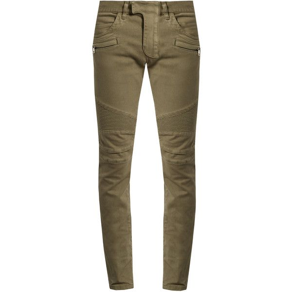 Balmain Biker slim-leg jeans (3.125 BRL) ❤ liked on Polyvore featuring men's fashion, men's clothing, men's jeans, pants, beige, mens skinny jeans, mens skinny biker jeans, mens skinny fit jeans, balmain men's jeans and mens super skinny jeans