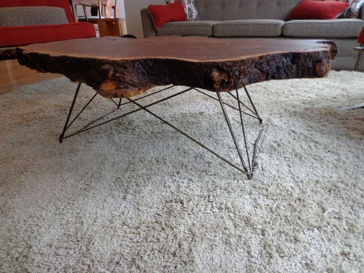 Mid Century Cats Cradle Coffee Table Base   Raw Steel  Base Only   Live  Edge Wood Top